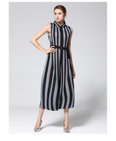 2018 summer new MIYAKE wrinkle stripes trousers slim V collar no sleeves ladies' high waist Rompers free shipping