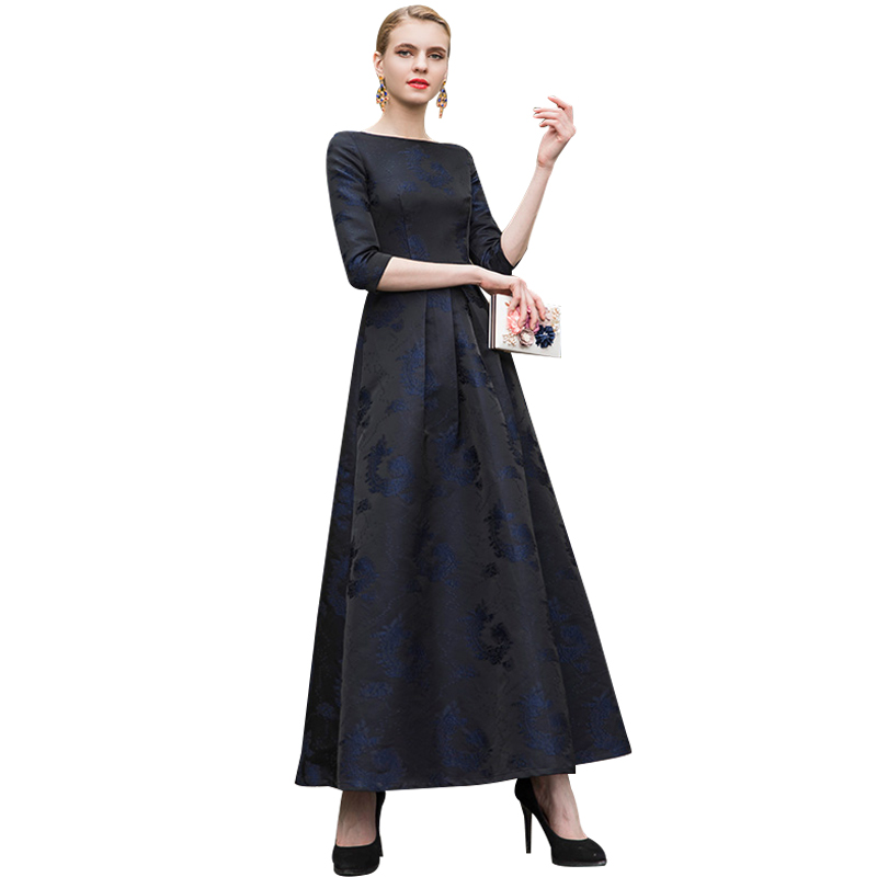 DF Qualité 2018 Nouvelle Mode Jacquard de Soirée Vintage Robe Femmes 2/3 Manches Vêtements Pleine Longueur Jolie Parti Vêtements 6902