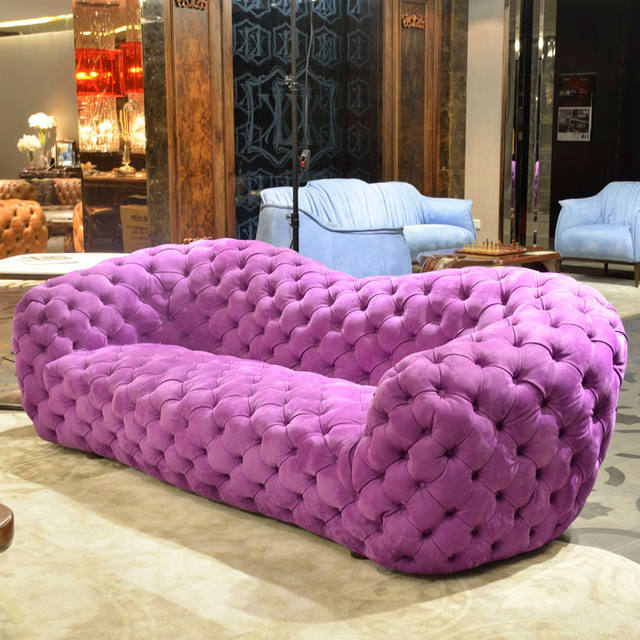 Online Shop Retro Button Tufted Upholstered Chesterfield Fabric Sofa ...