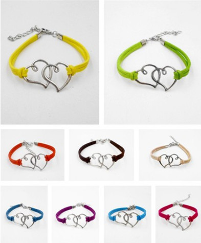 Cheap price fashion jewelry Two love hearts infinity bracelet charm leather for women wholesale