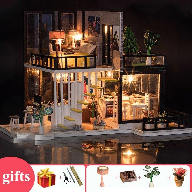 Bricolage grande maison de poupée en bois maisons de poupée cuisine miniature villa maison de poupée kast meubles kit travaux manuels adulte oyuncak ev