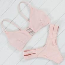Bikinis Women Swimsuit Push Up Swimwear Women 2017 Sexy Bandeau Pink Brazilian Bikini Set Beach Bathing Suit Bandage Biquini