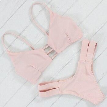 Bikinis, traje de baño para mujer, Push Up, bañador para mujer, 2017, Sexy, Bandeau, rosa, Bikini brasileño, conjunto, traje de baño para playa, Bikini ajustado