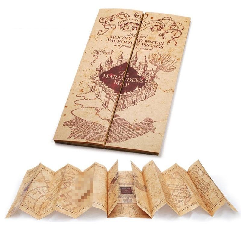 Harri Potter Marauder Mapa versão Mini Collectible Retro Pergaminho Mapa NOVO Cosplay Adereços Presente 76x22 cm