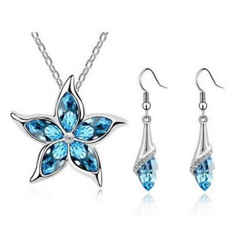 Fashion New Five Leaves and Flowers Austrian crystal Necklaces Earrings jewelry sets CS187B9 ABC