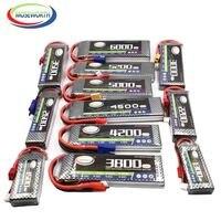 Аккумуляторы 7,4 V 2S RC LiPo батарея 1100 1800 2600 3300 4000 4500 5200 мАч 25C 35C 60C для радиоуправляемого дрона, вертолета, автомобиля, 2S LiPo