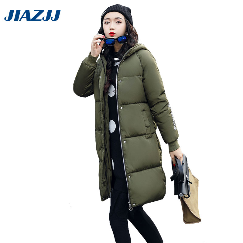 2017 big size new outerwears winter women cotton long coat korean thicker slim down padded jacket warm cute student M17