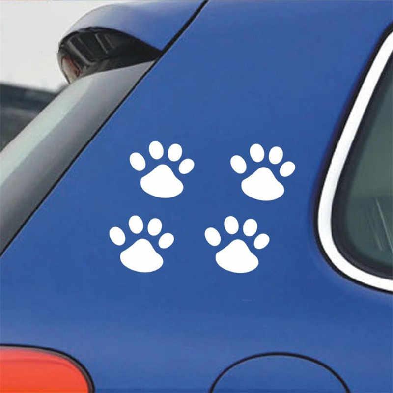 4Pcs 3D Dog Paw Impronta Autoadesivi Dell'automobile del PVC Della Decalcomania Orso Gatto Animale Stampa Del Piede Sticker Car Styling Auto Moto decorazione Della casa