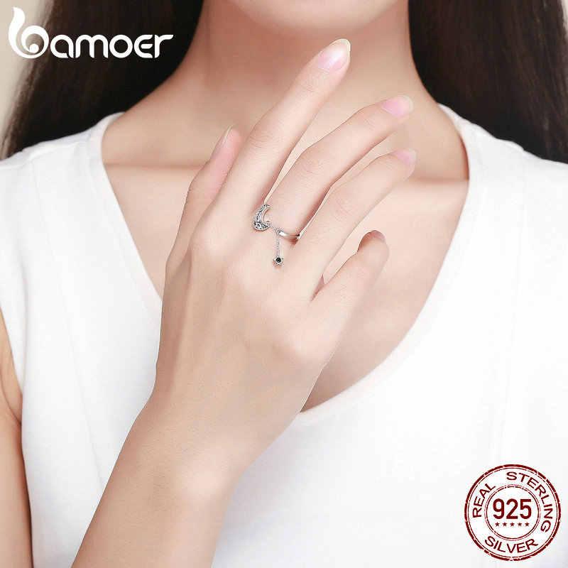 BAMOER натуральная 925 пробы серебряная луна и звезды Длинная цепочка Star Регулируемая палец кольцо для Для Женщин стерлингов Серебряные ювелирные изделия SCR479
