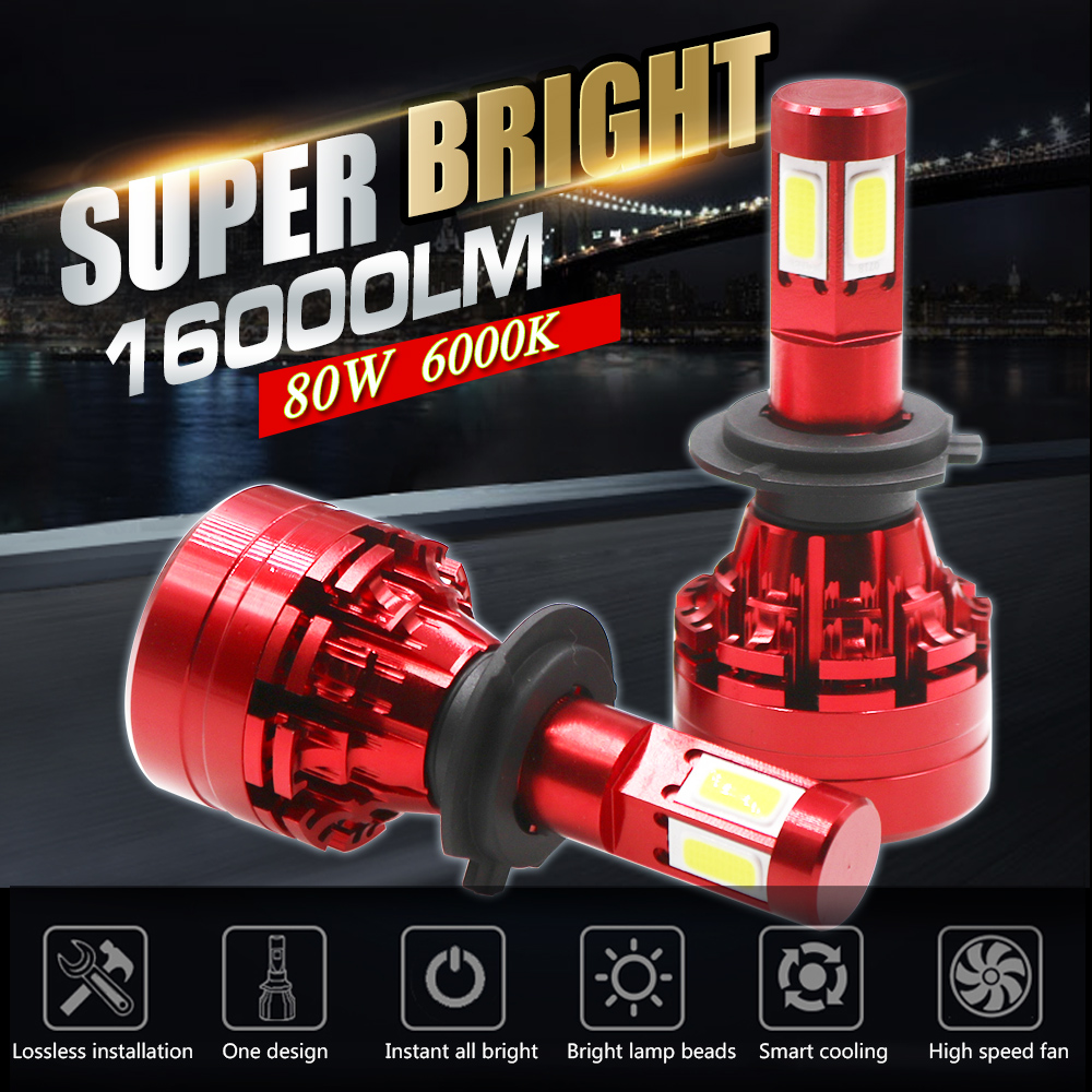 Canbus Cob Blanc H4 H7 LED Car Bulb H11/H8 9005/HB3 9006/HB4 Hir2 12V 24V 12000LM 6500K Auto Lamp Fog Light LED Voiture Ampoules