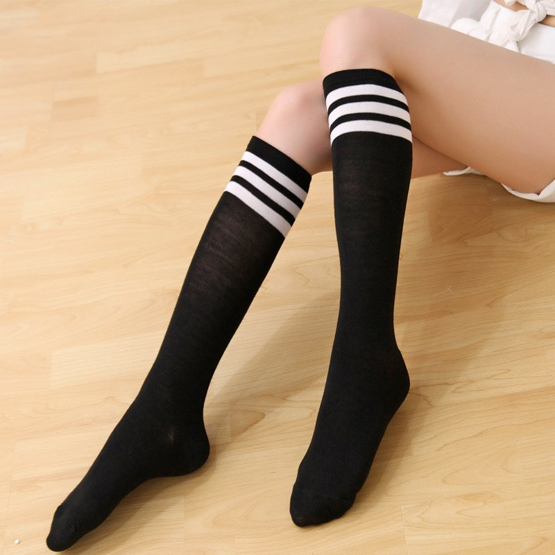 <font><b>Sexy</b></font> Fashion Striped Knee <font><b>Socks</b></font> Women Long Cotton Stockings <font><b>Cute</b></font> Campus Student Style Thigh High Stockings Drop Shipping image