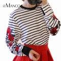E-manco blanco a rayas de manga larga t-shirts casual para mujeres de moda flor de rose del bordado mujeres clothing em858
