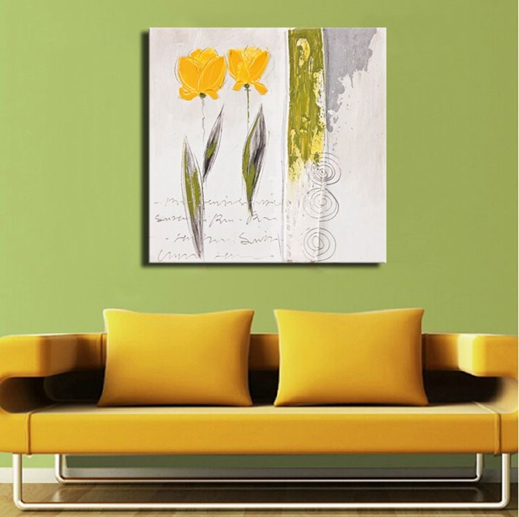 Modern Simple Abstract Yellow Flower Oil Painting for Home ...