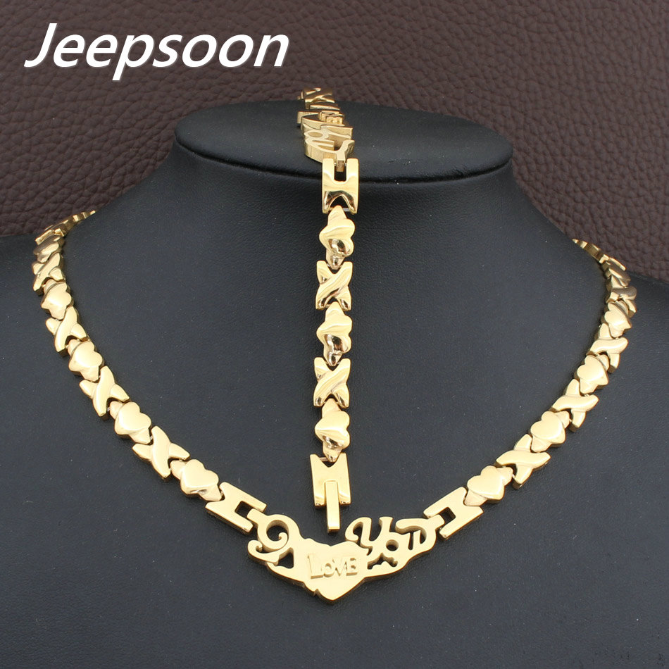 Hot Sell Wholesale Newest Fashion Stainless Steel Metal Silver and gold color Heart Necklace And Bracelet Jewelry Set SFKGCRFI