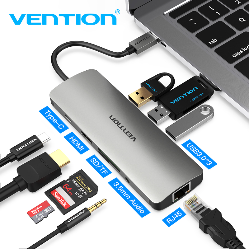 Vention Thunderbolt Three Dock Usb-C Hub Sort C To Hdmi Usb 3.zero Rj45 Adapter For Macbook Samsung S8/s9 Huawei P20 Professional Usb C Adapter