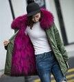 Mulheres top quality natural real grande gola de pele de guaxinim de luxo casaco com capuz forro de pele genuína Marca Jaqueta Parka Exército Verde 3XL