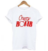 12c7a049 High Quality Harajuku Cotton T-shirt Women Men Cherry Bomb Funny Letters  Printed T Shirt Female Camisetas Mujer Tops cute Tshirt