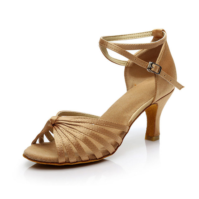 dfbbc96d Mujeres Niñas satén punta abierta Latino tango danza Zapatos interior suela  de gamuza tacón alto 5