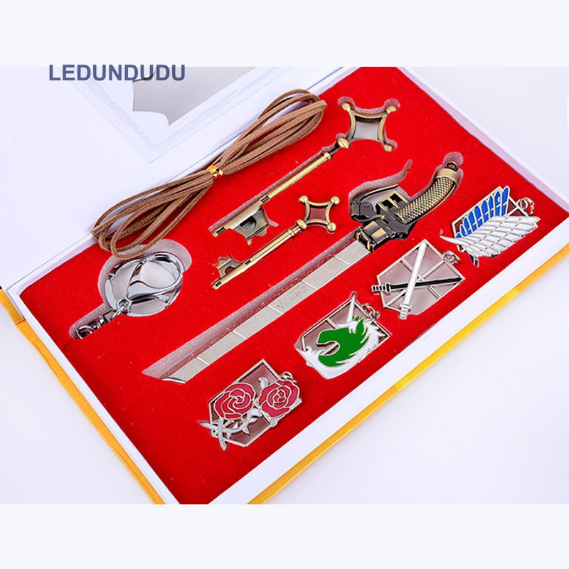 Fashion Anime Attack On Titan Cosplay Badge Cartoon Corps Label Broochs Weapons Keychains Charms Rings Set
