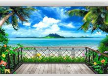 Free shopping 2015 New 3 d fantasy balcony beach seascape TV setting wall wallpaper