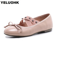 Big Size 43 Leather Shoes Women Flats Casual Butterfly Women Moccasins Loafers Rivet Fashion Ladies Shoes Ballet
