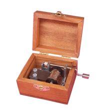 New Vintage Classical Exquisite Square Wooden Hand Crank Exquisite Retro Music Box Gifts L12