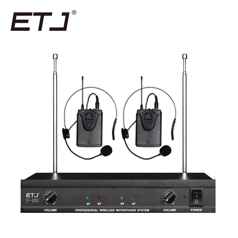 ETJ U-101 Wireless Microphone with Screen 50M Distance 2 Channel Handheld Mic System Karaoke Wireless Microphone free shipping etj u 203 wireless microphone with screen 50m distance 2 channel handheld mic system karaoke wireless microphone