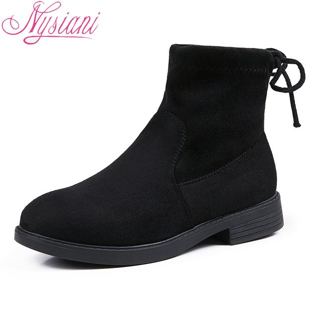 2018 Women Ankle Boots Microfiber Back Lace-up Round Toe Fashion Square Heel Low Heels Women Boots Platform Shoes Nysiani
