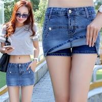 Summer High Waist Denim Shorts for Women pockets Fake Two Short piece Jeans Girls European Style Sexy Skirts 2017 3XL femme new