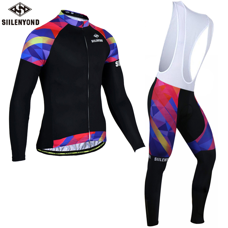 Siilenyond 2017 Winter Long Sleeve Thermal Fleece Cycling Jersey Set Men Bicycle Clothing Maillot Ciclismo Invierno Bike Clothes black thermal fleece cycling clothing winter fleece long adequate quality cycling jersey bicycle clothing cc5081