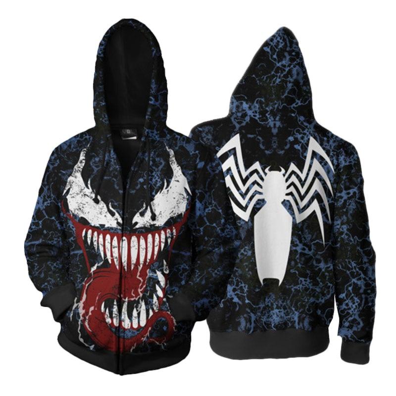 3D Printed Hoodie 2018 Venom Spider-man Cosplay Zip Up Hooded Unisex Jacket Sweatshirt Streatwear Harajuku Coat Drop Ship