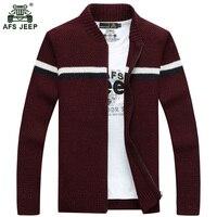 Afs jeep Winter Mens Cardigan 2017 New Men's Casual Sweaters Warm Zipper Men Cardigan Stand Collar Knitted Sweaters 75zr