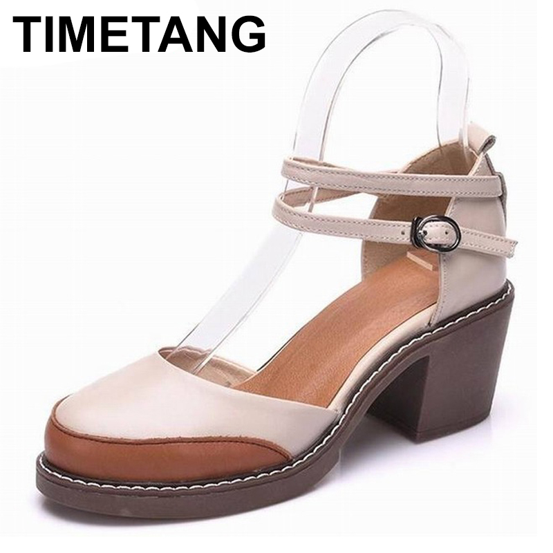 TIMETANG  2018 Shoes Woman 100% Genuine Leather Women Pumps Lady Leather Round Toe Platform Shallow Mouth Shoes Size 34-40 TIMETANG  2018 Shoes Woman 100% Genuine Leather Women Pumps Lady Leather Round Toe Platform Shallow Mouth Shoes Size 34-40