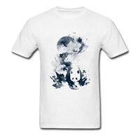 Brand New 2018 Faded Away Watercolor Panda Print Men S Cotton White Tee Shirts Short Sleeve