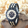 BEWELL Quartz Ebony Wood Watch Men Multi-function Sport Watches  Relogio Masculino Wristwatches Montre Homme Paper Box 116C