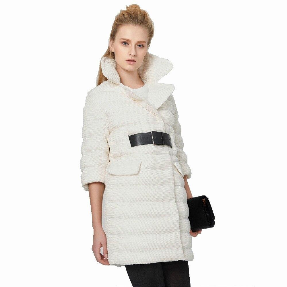 Eva Freedom Winter new arrival tailored collar with belt   down     coat   creative design mesh   down   jacket UV1690