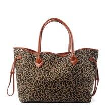 Sulista de vendas quentes leopardo feminino lona bolsa senhora grande sacola ocasional presente da dama de honra pode ser bordado