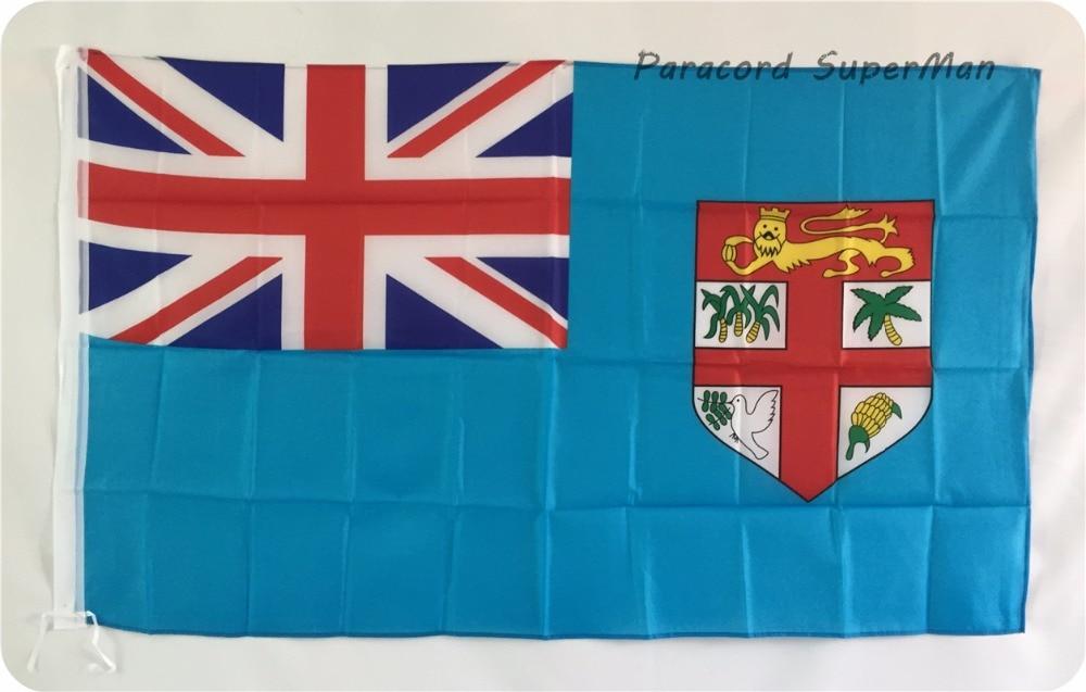 Fidži lippu banneri 3 x5ft roikkuva polyesteri Fidži saaren bannerilippu 150x90cm juhlien maailmancup / juhla / koti