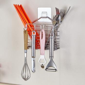 Multifunctional Stainless steel Kitchen Organizer Chopsticks Spoon Fork Kitchenware Storage Holder With Removable Adhesive Tape
