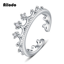 Ailodo New Fashion Crown Rings For Women Elegant Silver Color Female Open Rings Engagement Wedding Jewelry Girls Gift LD137 цена и фото