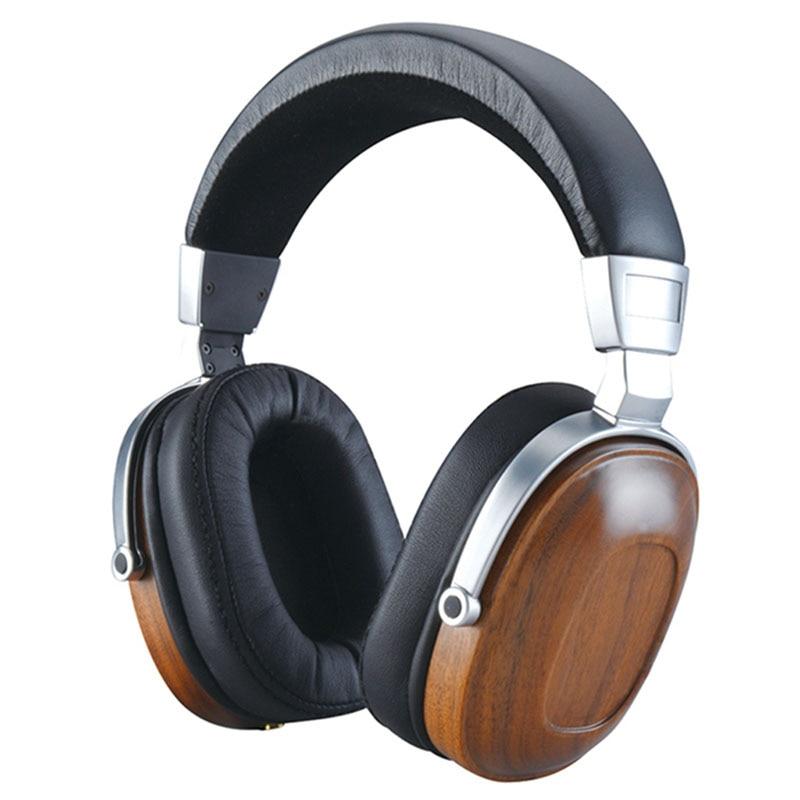 OOTDTY Headphone Moving Coil Headset B8 Stereo Wooden Metal Over-ear Black Mahogany Earphone цена