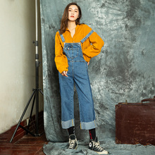 Denim bib women's spring and autumn 2019 new loose Korean bf nine points wide leg pants denim jumpsuit  casual cut summer