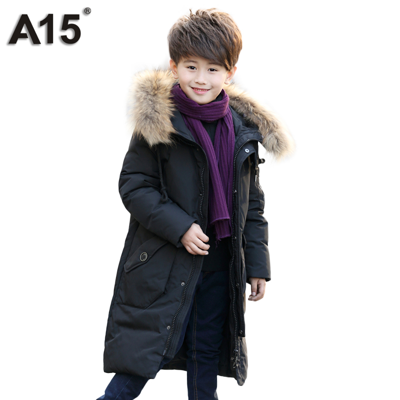 A15 Brand Fashion Children's Down Jackets Coat Toddler Winter Jacket for Boys 2017 New Big Boys Hooded Outerwear Clothing 6 8 10 2017 winter down jackets for boys
