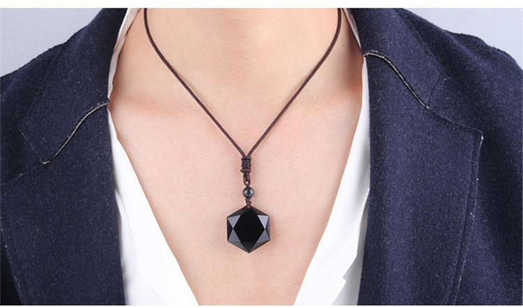 Black Obsidian Crystal Star Necklace