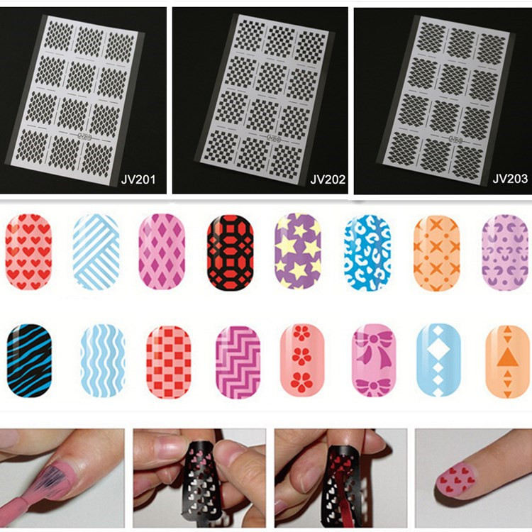 4 Sheets/Lot Vinyl Reusable Nail Stencil Beauty Salon Decoration 20 ...