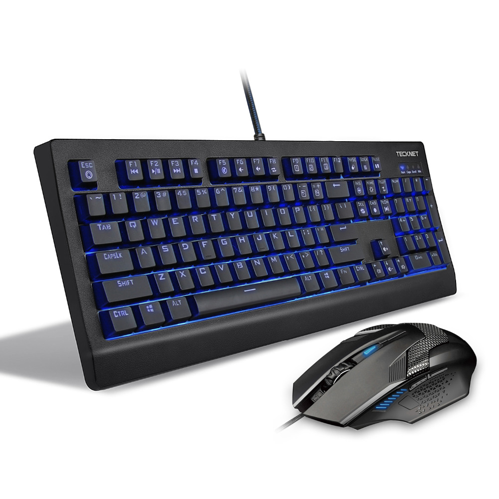 TeckNet Arctrix Pro Real Mechanical Gaming Keyboard, LED Illuminated, Water-Resistant, US Layout with free mouse for gamer цена и фото