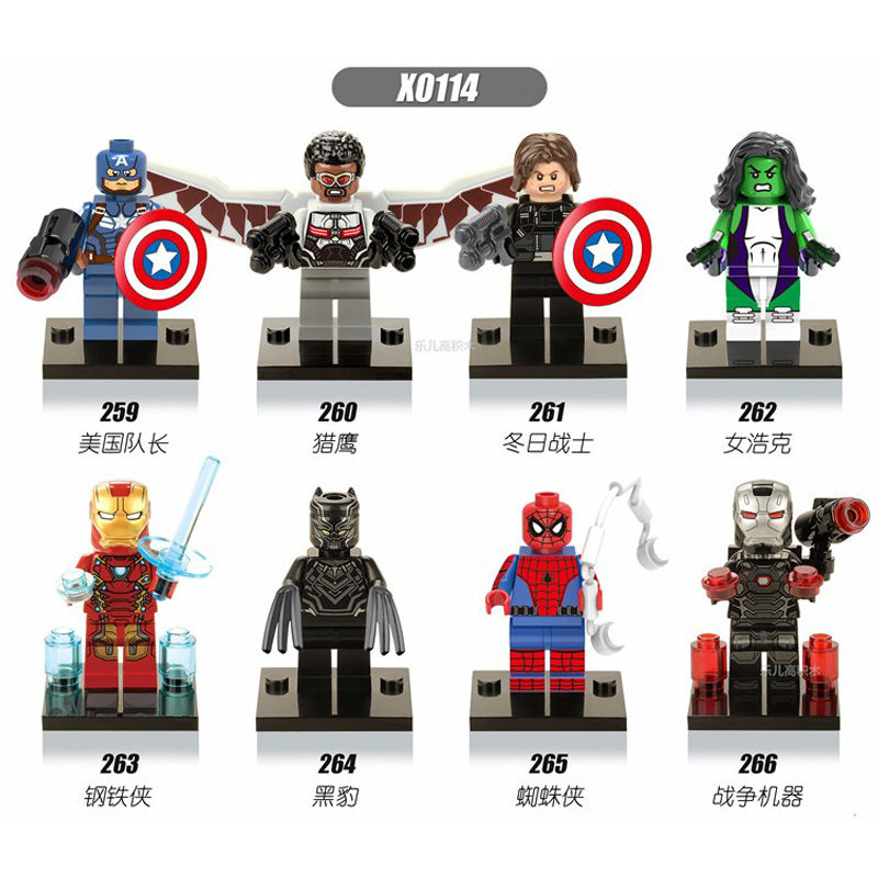 8PCS X0114 259-266 Marvel Super Heroes Captain America 3 Civil War Falcon Spider-Man Iron Man She Hulk Black Panther Block