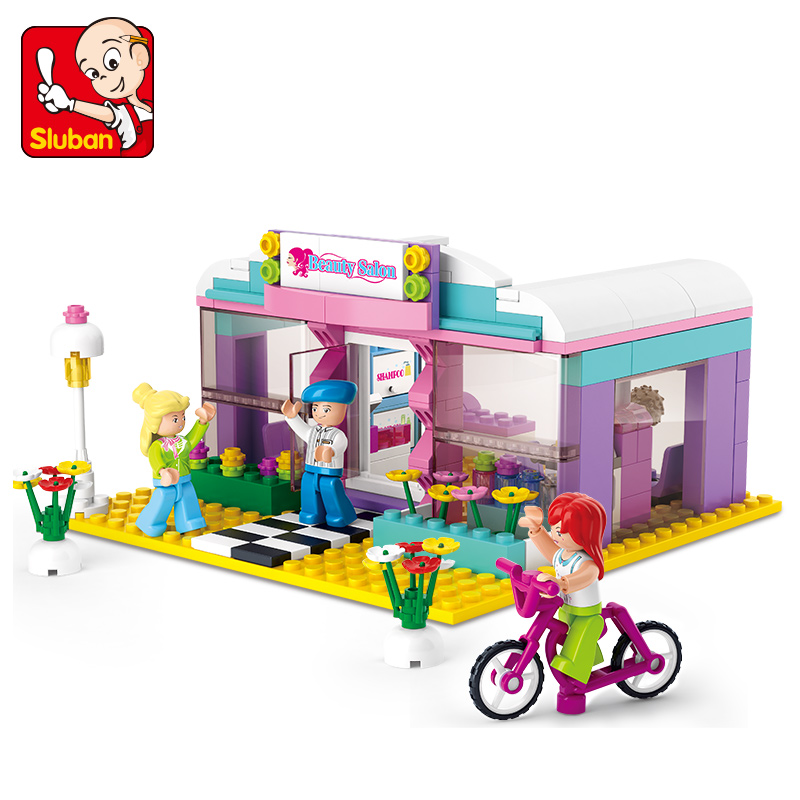 243pcs Sluban building blocks Girl city series beauty salon lepin bricks toys for children Compatible all brand bricks boys gift 1710 city swat series military fighter policeman building bricks compatible lepin city toys for children