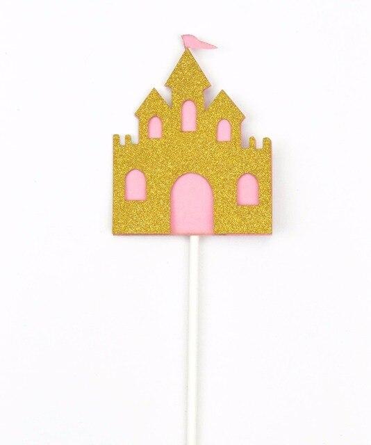 cake decoration castle glitter cupcake topper birthday cake decoration flag girl princess castle fantasy cupcake topper