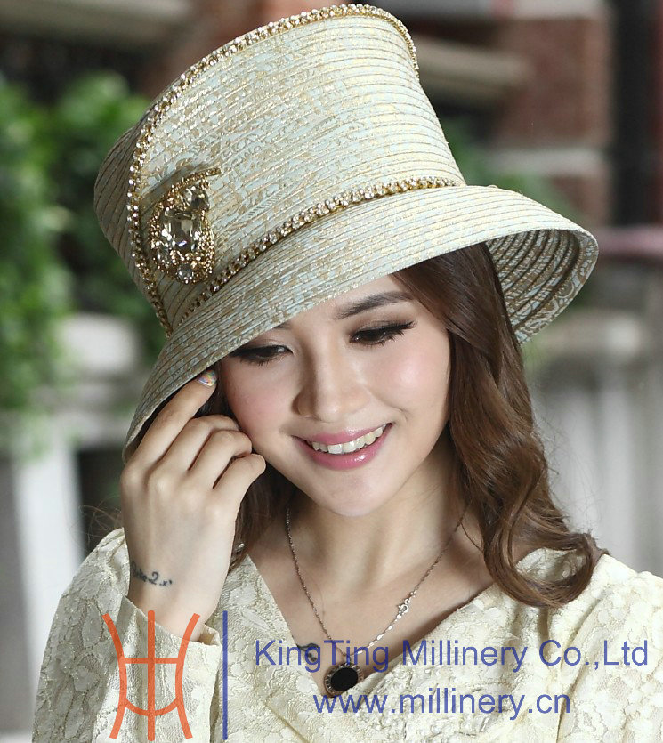 Us 465 Free Shipping Hot Fashion New Arrival Women Dress Hats Satin Dress Hat Polyester Hat Satin Church Hats With Diamond Casings In Womens